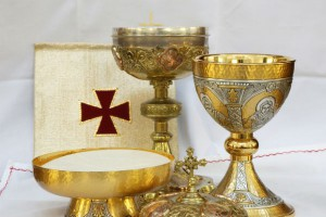 Chalice Ciborium Paten and Pall used at Communion
